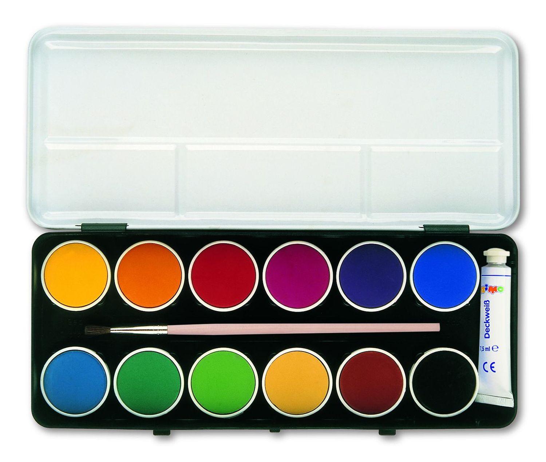 Primo Deckfarbkasten mit 12 Farben im Metalletui